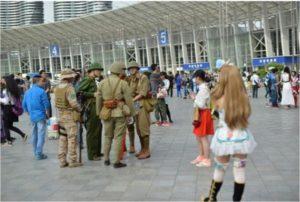 日本軍のコスプレをする中国人